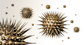 3D Metal Virus. Three dimensional illustration of many metal virus in white space Royalty Free Stock Images