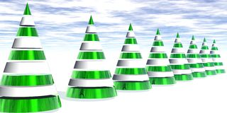 3D Metallic Christmas Trees in a Row. With shiny green and snow white elements and white space Royalty Free Stock Photo