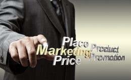 3d metallic marketing4p diagram as concept. Business man hand touch 3d metallic marketing4p diagram as concept stock photos
