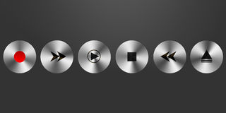 3d metallic media player buttons Stock Images