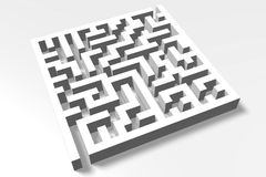 3D metaphors, maze, labirynth, solution, problem, obstacle, solving. 3D graphics for labirynth / maze Royalty Free Stock Image