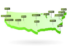 3d miast mapy stan jednoczący Zdjęcia Stock