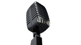 3d microphone. Vintage silver microphone made in 3d isolated over a white background Royalty Free Stock Image