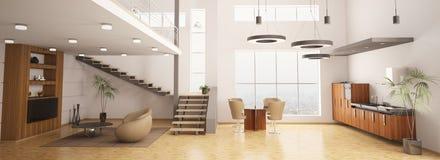 3d mieszkania nowożytny wewnętrzny odpłaca się Obraz Stock