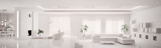 3d mieszkania wewnętrzny panoramy biel Fotografia Royalty Free