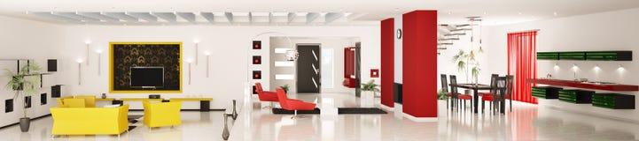 3d mieszkanie panorama wewnętrzna nowożytna odpłaca się Zdjęcia Stock