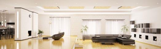 3d mieszkanie panorama wewnętrzna nowożytna odpłaca się Obrazy Stock