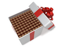 3d mini chocolate filled up into gift box Stock Photo
