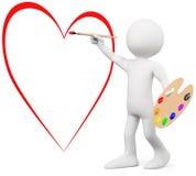 3D minnaar die een hart op een muur schildert Royalty-vrije Stock Foto