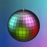 3d mirror ball. With different colored lights Stock Photos
