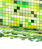 3d mixed green tiled wall floor pavement Royalty Free Stock Images