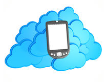 3d mobile phone with cloud computing Royalty Free Stock Images