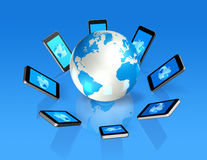 3D mobile phones around a world globe Stock Image