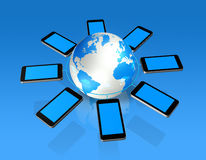 3D mobile phones around a world globe Stock Images