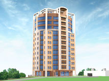 3d Model. Of city house and nearest territory Royalty Free Stock Images