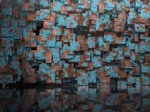 3D Model background. 3D architectural Model for website background with cubic blocks of oxidated tarnished copper, reflected in shiny floor royalty free stock photo