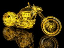 3d model bike. 3d sport bike on black background with a reflection Stock Photo