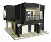 3d model of  black and white wooden house on a white background. Stock Photo