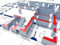 3d model building. Fine 3d image of model on blueprint
