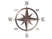 3d model of compass with clipping path. 3D generated compass, wind rose out of rusty weathered copper material with clipping path stock illustration