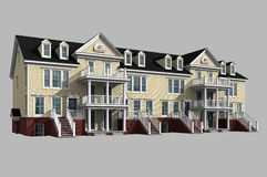 3d model of condominium. 3d model of yellow siding condominium, isolated on gray with clipping path included royalty free stock photography