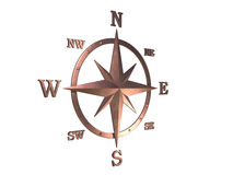 3d model of copper compass with clipping path. 3D generated compass, wind rose out of copper material with clipping path royalty free stock photos
