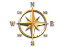 3d model of golden compass. 3D generated compass, wind rose out of gold metal material with clipping path and soft shadow stock image