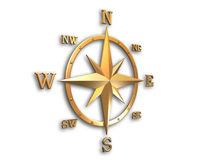 3d model of golden compass with clipping path. 3D generated compass, wind rose out of gold metal material with clipping path and soft shadow stock photos