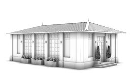 3d model of the house. Sketch Stock Photo