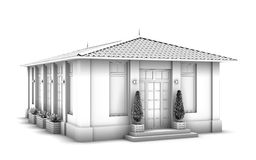 3d model of the house. Sketch Stock Photos