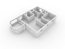 3d model of house. First flour walls of neutral color Stock Photography