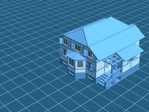 3d model the house, worth on a digital surface. 3d model the house, worth on a blue digital surface Royalty Free Stock Photo