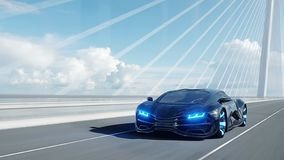 Free 3d Model Of Black Futuristic Car On The Bridge. Very Fast Driving. Concept Of Future. 3d Rendering. Royalty Free Stock Images - 151097729