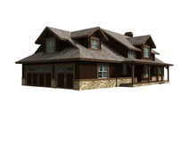 3d Model Of One Level Home Stock Photos