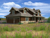 3d Model of one level house. Photo-matched in prairie background stock photography