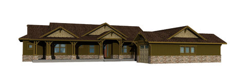 3d model of one level ranch Stock Image