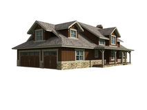 3d model of ranch home Stock Images