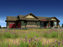3d Model of ranch house. With photo-match in prairie background stock image