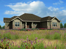 3d model of ranch house. 3d Model of green siding ranch house photo-matched in grassy foreground royalty free stock image