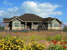 3d model of ranch house. 3d Model of gray siding ranch house, photo-matched in grassy foreground with flowers stock images
