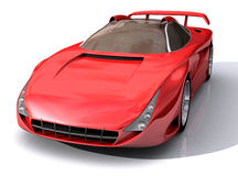 3D Model of red sports car. 3D Model of red sports concept car, with clipping path, isolated on white background royalty free illustration