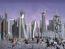 3d Model of Sci-fi city. With futuristic skyscrapers and rusty domes vector illustration