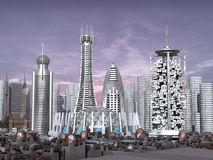 3d Model of Sci-fi city. With futuristic skyscrapers and rusty towers and domes stock illustration