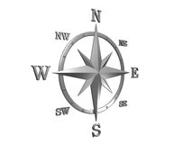 3d model of silver compass with clipping path. 3D generated compass, wind rose out of silver metal material with clipping path and soft shadow stock illustration