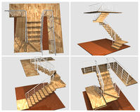 3d model Stairway royalty free stock photo