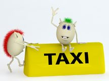 3d  model of the taxi symbol with puppets Stock Image