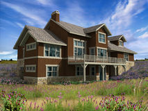 3d Model of two level house. With photo-match on hilltop background royalty free stock images