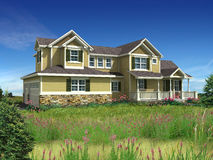 3d model of two level house. 3d Model of yellow siding house photo-matched in grassy foreground stock photography