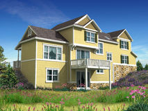 3d model of two level house. 3d Model of yellow siding house photo-matched in grassy foreground vector illustration