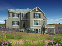 3d model of two level house. 3d Model of green siding house photo-matched in grassy foreground stock illustration